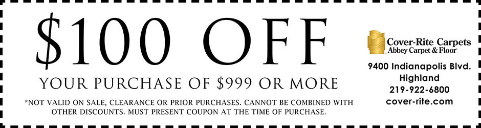 $100 off your purchase of $999 or more with this coupon!  not valid on sale, clearance or prior purchases.  Cannot be combined with other discounts. Must present coupon at the time of purchase!