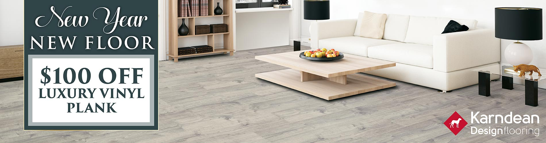 $100 off luxury vinyl plank during our New Year New Floor sale
