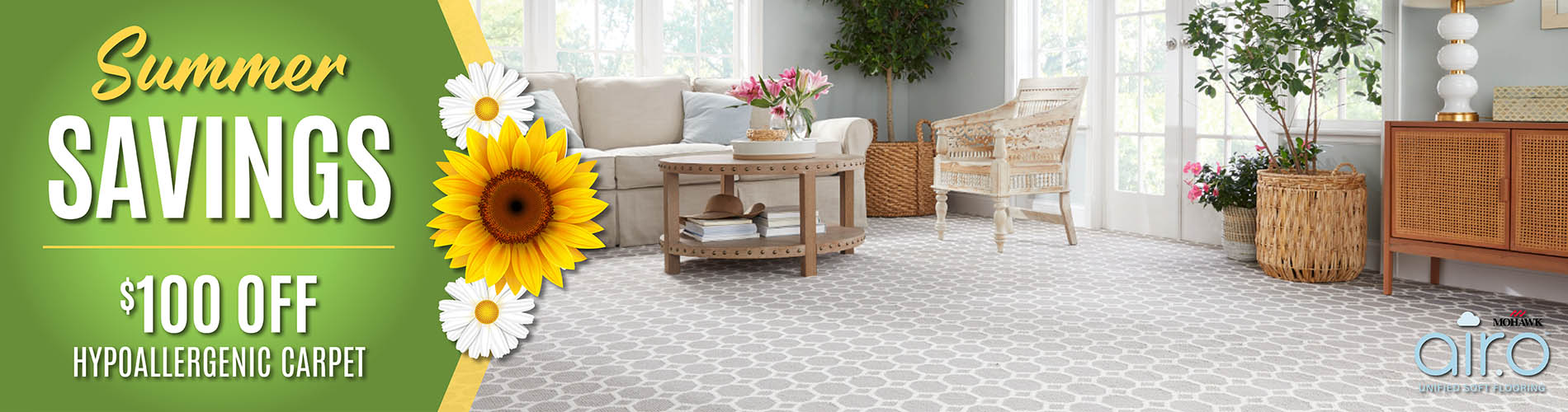 $100 off hypoallergenic carpet during our Summer Savings